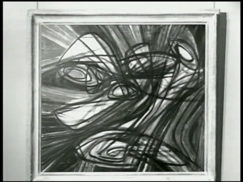 abstract drawing by stanley william hayter . reclining figure 1983' sculpture by henry moore - henry moore stock videos & royalty-free footage