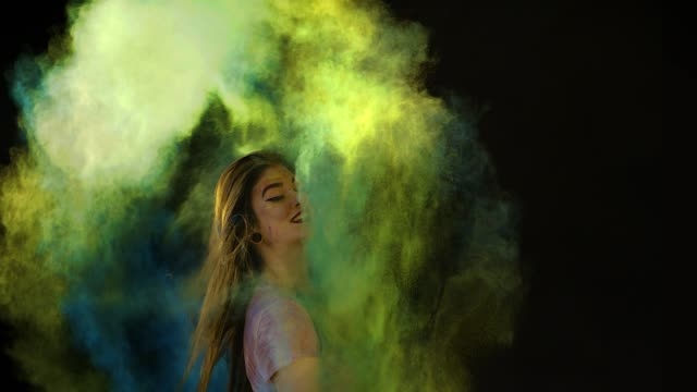 abstract dreamy fashion powder paint girl hair - multi coloured stock videos & royalty-free footage