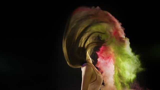 abstract dreamy fashion powder paint girl hair - colori video stock e b–roll
