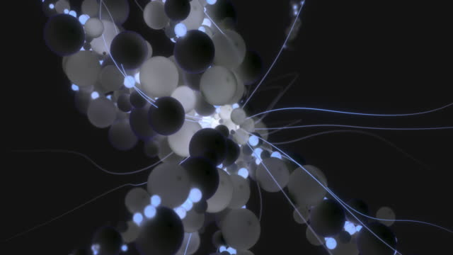 vidéos et rushes de forme dynamique abstraite avec des tentacules constitués de sphères. - dessin au trait