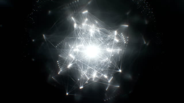 abstract energy structure (black, centered) - loop - computazione quantistica video stock e b–roll