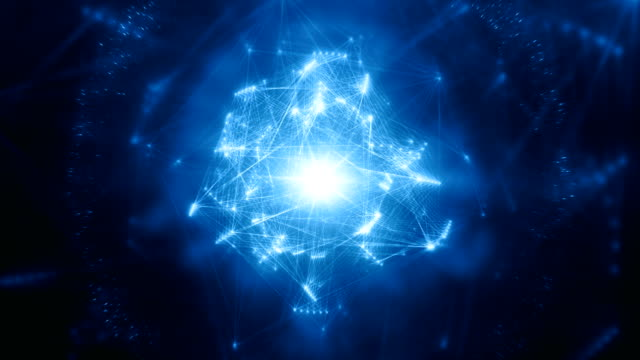 abstract energy structure (blue, centered) - loop - digitally generated image stock videos & royalty-free footage