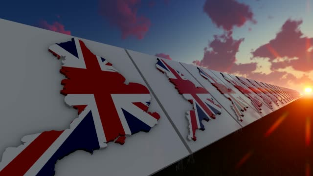 abstract england flag on map background - politics illustration stock videos & royalty-free footage