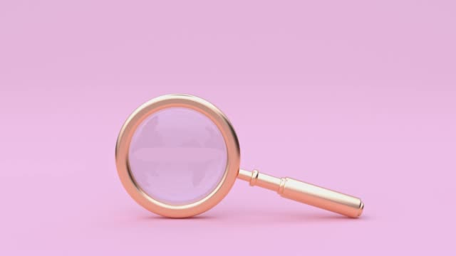 vídeos de stock e filmes b-roll de abstract equipment object concept gold magnifying glass 3d rendering motion pastel color scene - lupa
