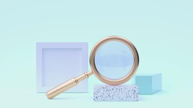 abstrakte ausrüstungsobjekt konzept goldene lupe 3d rendering bewegung pastell-farbszene - gruppe von gegenständen stock-videos und b-roll-filmmaterial