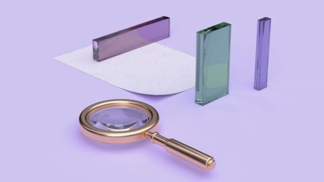 abstract equipment object concept gold magnifying glass 3d rendering motion pastel color scene - glass material stock videos & royalty-free footage