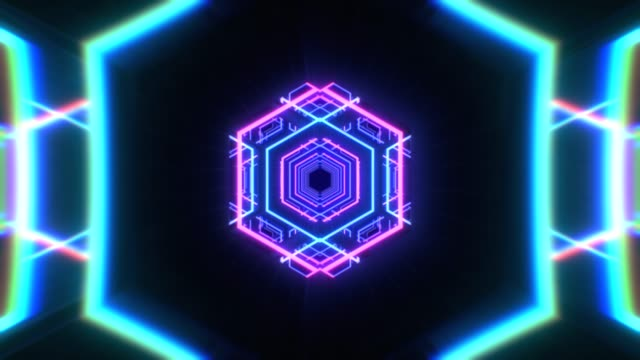 Abstract flight in a hexagonal tunnel in retro futuristic style, 3d seamless loop animation