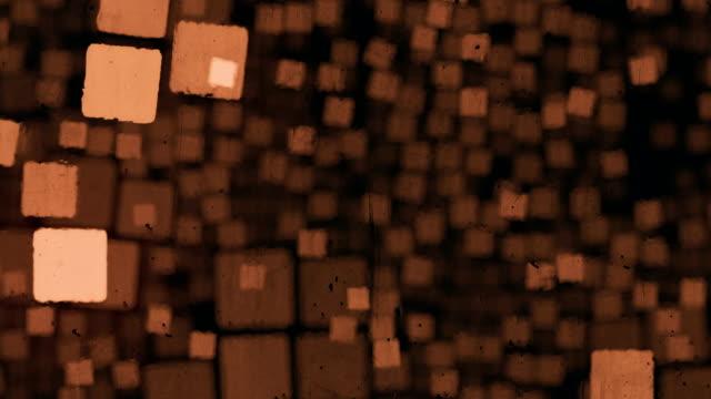 vídeos de stock, filmes e b-roll de resumo o fluxo de caixas tridimensionais vista através do vidro enlameada. fundo de animação digital. renderização 3d. 4k, resolução hd ultra - marrom
