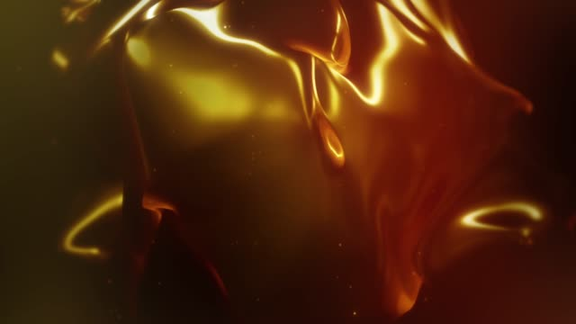 abstract flowing fluid shape animation - gold colored stock videos & royalty-free footage