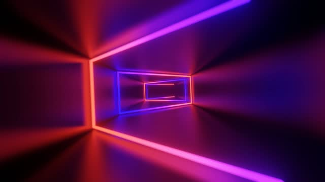 vídeos de stock e filmes b-roll de abstract flying in futuristic corridor,seamless loop 4k background, fluorescent ultraviolet light, colorful laser neon lines, geometric endless tunnel, blue pink spectrum, 3d render - arte, cultura e espetáculo
