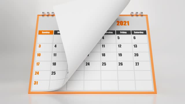 abstract flying pages of calendar 2021 with orange frame on white background - week stock videos & royalty-free footage