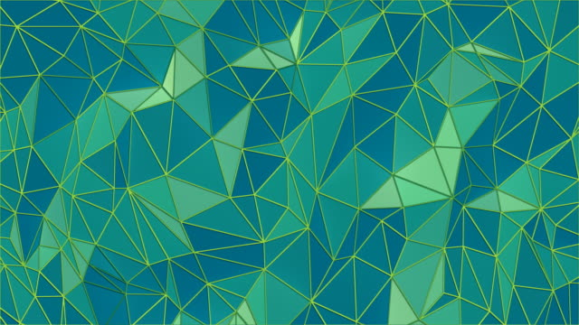 abstract footage with green triangular crystalline geometric background. low-poly colored waving surface. 3d rendering seamless loop animation. 4k, uhd resolution - stone object stock videos & royalty-free footage