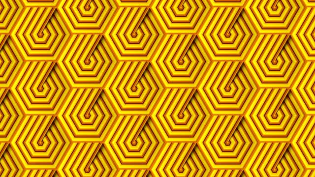 黄色の縞模様の六角形のパターンを持つ抽象的な映像。錯視未来的な背景。デジタルシームレスなループアニメーション。3d レンダリング。4k、ウルトラhd解像度 - アールデコ点の映像素材/bロール