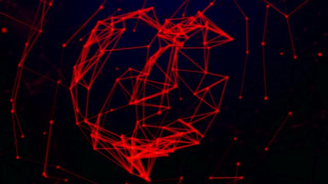 vídeos de stock, filmes e b-roll de rede de dados abstratos futurista no espaço cibernético, o conceito de tecnologia. tema vermelho - plexo