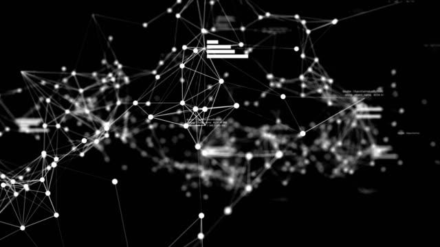 vidéos et rushes de réseau de données futuriste abstraite dans le cyber espace avec texte aléatoire et graphiques, concept technologique - graphique