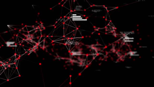 vídeos de stock, filmes e b-roll de rede de dados abstratos futurista no espaço cibernético com texto aleatório e gráficos, conceito de tecnologia - alta magnificação