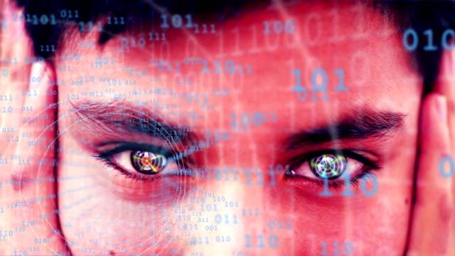 Abstrakte futuristisch Menschliches Gesicht mit Augen tiefen der code