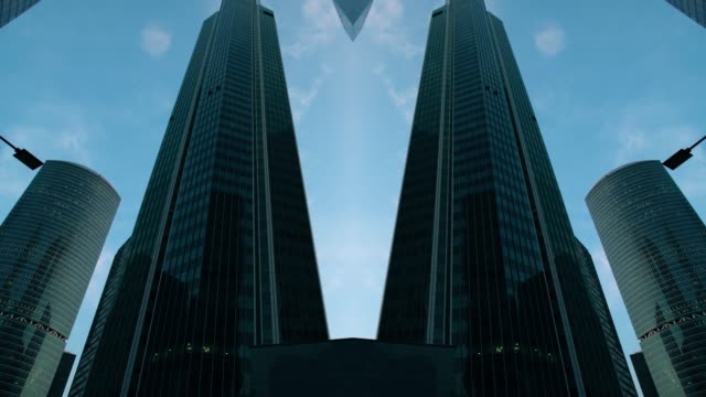 abstract futuristic modern building. mirrored effect - kaleidoscope pattern stock videos & royalty-free footage