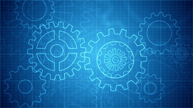 abstract gears blueprint background loopable - blueprint stock videos & royalty-free footage