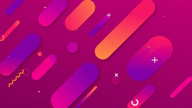vídeos de stock, filmes e b-roll de 4k fundo geométrico abstrato. composição de formas dinâmicas - fundo rosa