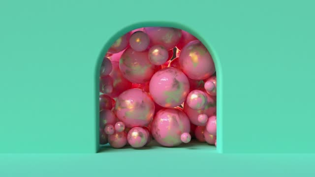 抽象的な幾何学的背景多くの球ゴールドピンクのボール3d レンダリング - gold colored点の映像素材/bロール