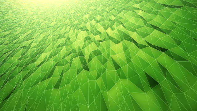 abstract geometric pattern background (green) - loop - low poly modelling stock videos & royalty-free footage