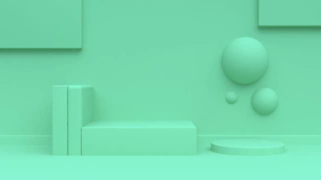 abstract geometric scene 3d rendering motion green background - pastel stock videos & royalty-free footage