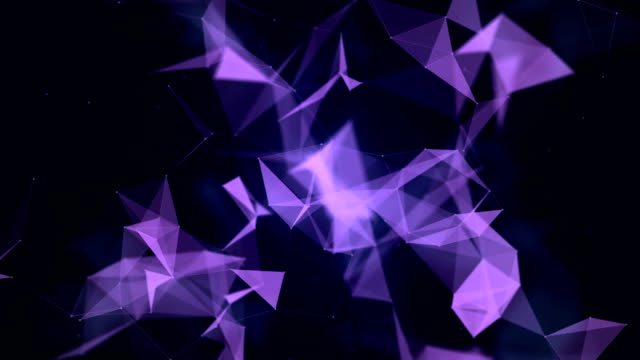 vídeos de stock e filmes b-roll de abstract geometric triangles background - purple