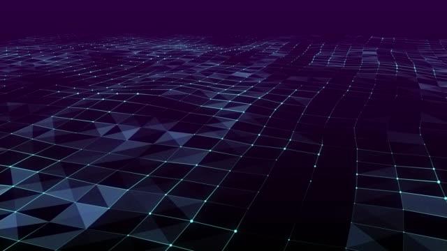 vídeos de stock, filmes e b-roll de fundo geométrico abstrato da onda e da tecnologia dos triângulos - rombo