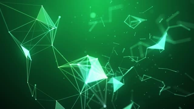 vídeos de stock, filmes e b-roll de fundo de conexão de rede de ondas de triângulos geométricos abstratos 4k - articulação facetária