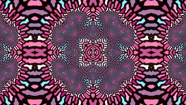 Abstract geometrical motion graphics background. Computer generated animation. Pink and blue kaleidoscopic pattern. 3d rendering. 4k UHD