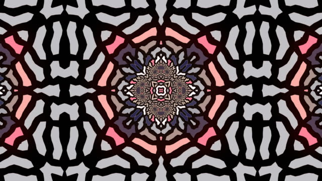 abstract geometrical motion graphics background. computer generated animation. pink colored kaleidoscopic pattern. 3d rendering. 4k uhd - concentric stock videos & royalty-free footage
