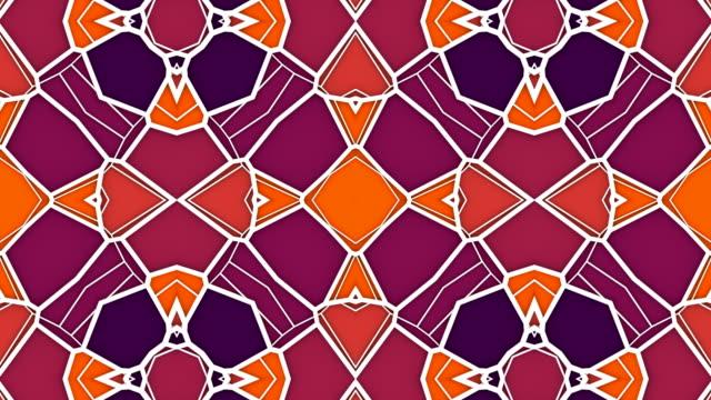 vidéos et rushes de fond abstrait de graphisme de mouvement géométrique. animation de boucle générée par ordinateur. motif kaléidoscopique multicolore. rendu 3d. 4k uhd - forme géométrique