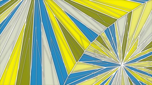 vídeos de stock, filmes e b-roll de fundo geométrico abstrato dos gráficos de movimento. animação gerada por computador do laço. teste padrão colorido amarelo e azul do triângulo. rendição 3d. resolução 4k, ultra hd. - triângulo formato bidimensional