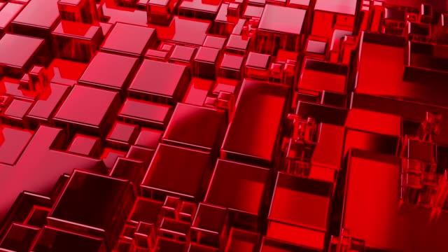 vídeos de stock e filmes b-roll de abstract glass cubes red - pixelado