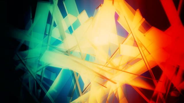 反射ループ可能な背景の抽象的なガラスの形 - スペクトル点の映像素材/bロール