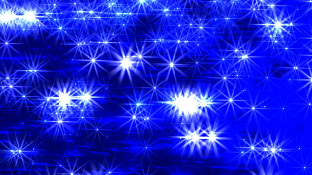Abstract Glittering Stars on Blue Water