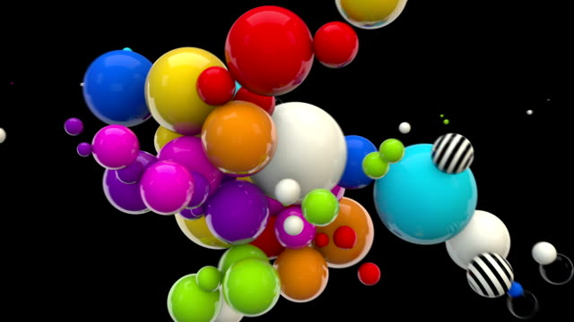 abstract glossy balls looping background - multi-colored on black - the constant search stock videos & royalty-free footage