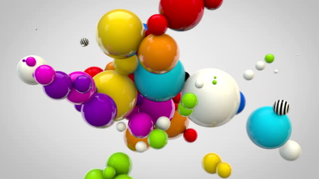 abstract glossy balls looping background - multicoloured on grey - ball stock videos & royalty-free footage