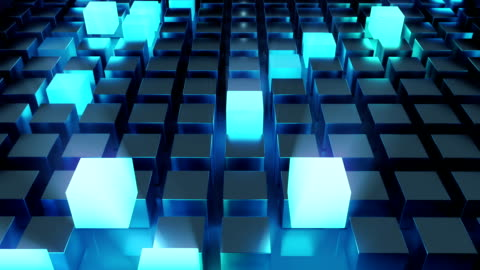 abstract glowing cubes blue - cube shape stock videos & royalty-free footage
