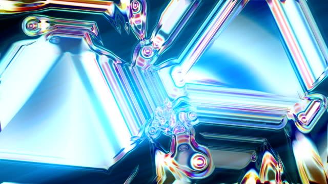 vídeos de stock e filmes b-roll de abstract glowing kaleidoscope pattern. refraction effect - fade out