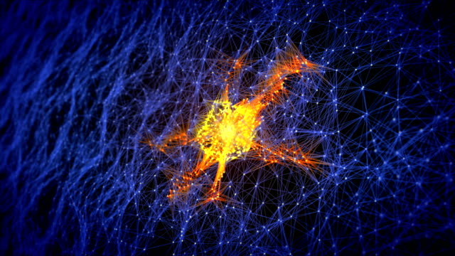 abstract glowing neural cells and neuron network, biology and futuristic concept - biological cell stock videos and b-roll footage