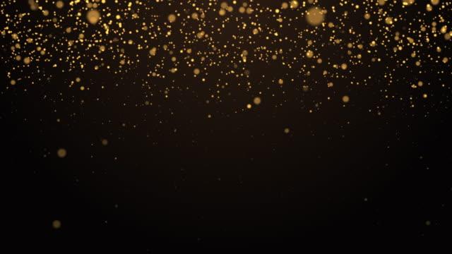 vídeos y material grabado en eventos de stock de partícula de oro abstracta que brilla sobre el fondo oscuro - decoración objeto