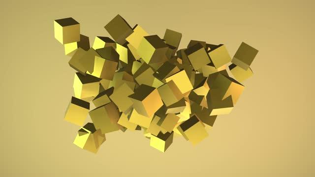 abstrakte golden cubes animation - spärlichkeit stock-videos und b-roll-filmmaterial
