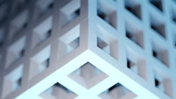 3D abstract gray-blue cubic puzzle background loop