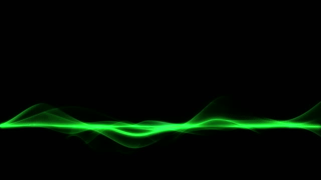 Abstract green energy waves on dark background, horizontal line wave