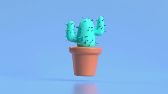 vidéos et rushes de abstrait vert arbre cactus pot 3d rendu style de dessin animé de mouvement - cactus pot