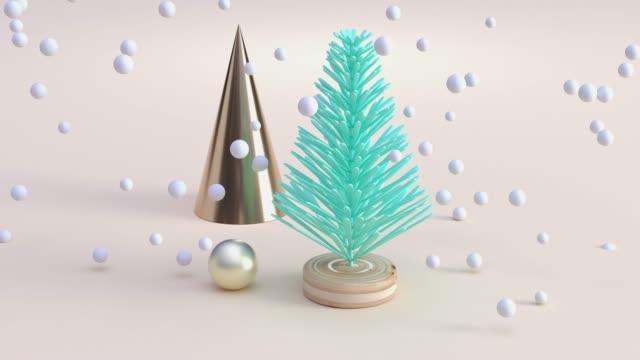 abstrakte grüne baumdekoration schneebedecktwinterndes konzept 3d rendering - art stock-videos und b-roll-filmmaterial