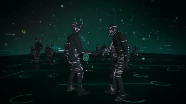 vídeos de stock e filmes b-roll de abstract greeting cyber network  smart contract with digital technology concept - vestuário de trabalho formal