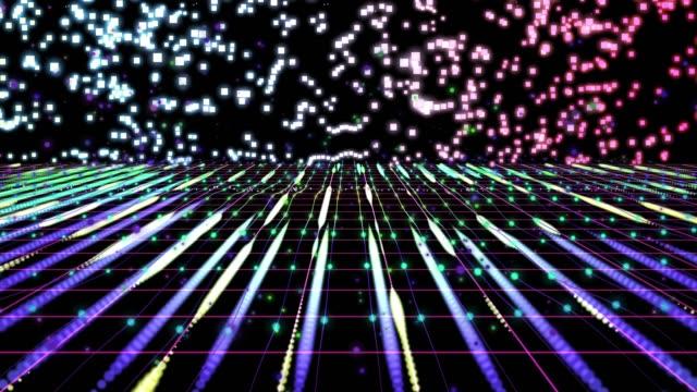stockvideo's en b-roll-footage met 4k abstract grid digitale achtergrond animatie lus, digitale elementen concept - loop elementen